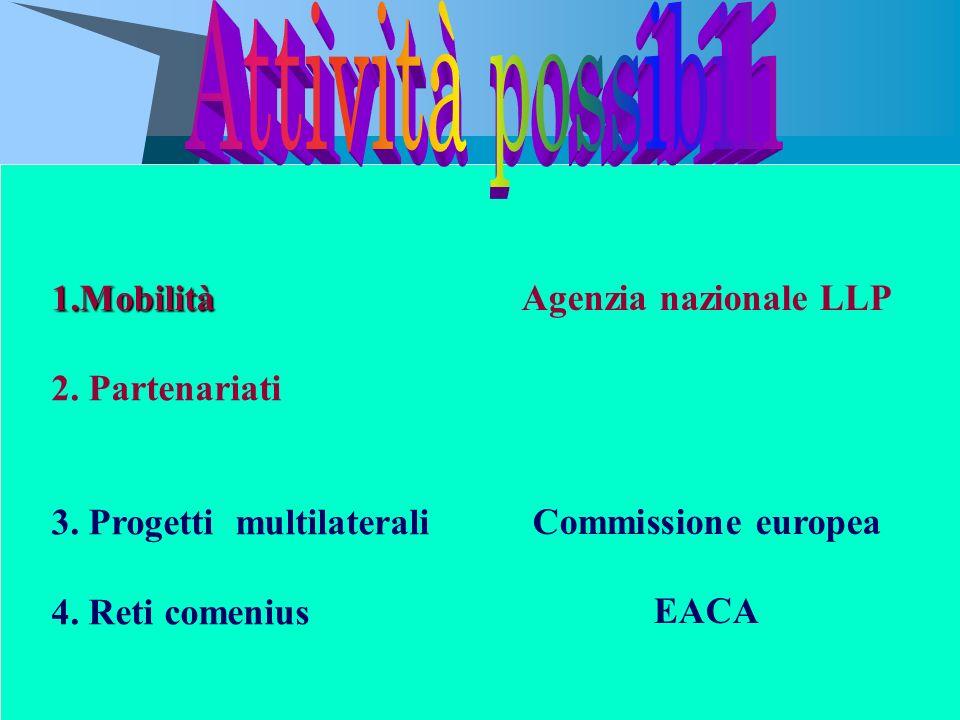 Attività possibili Agenzia nazionale LLP 1.Mobilità 2. Partenariati