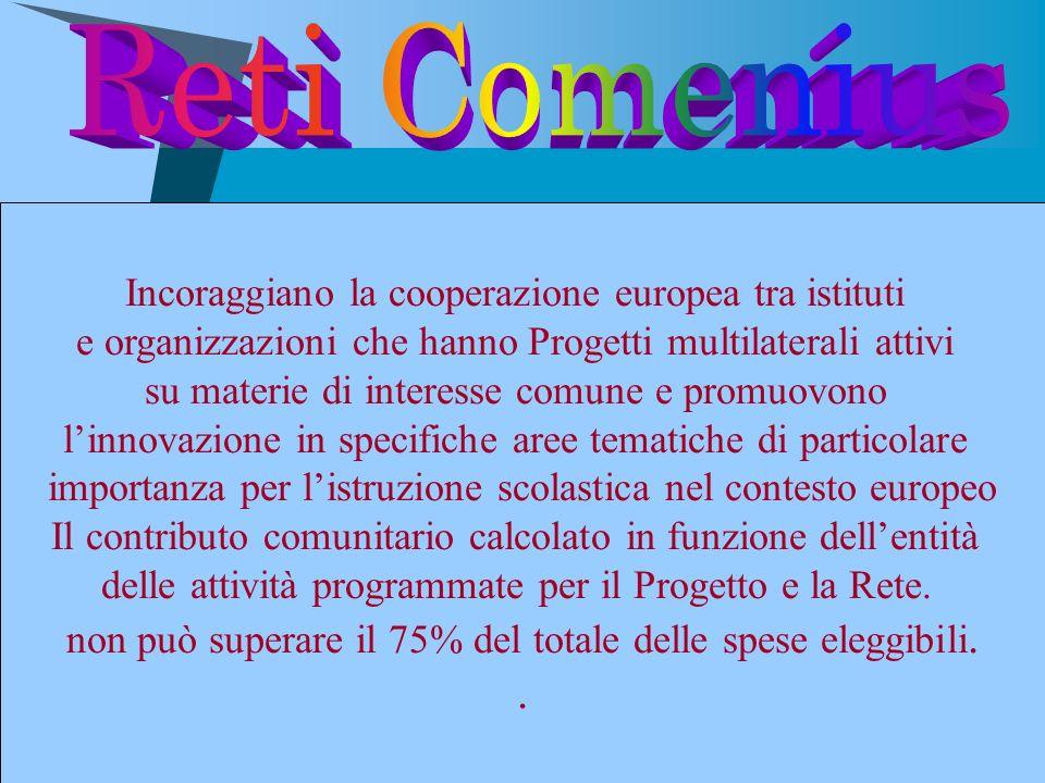 Reti Comenius . Incoraggiano la cooperazione europea tra istituti