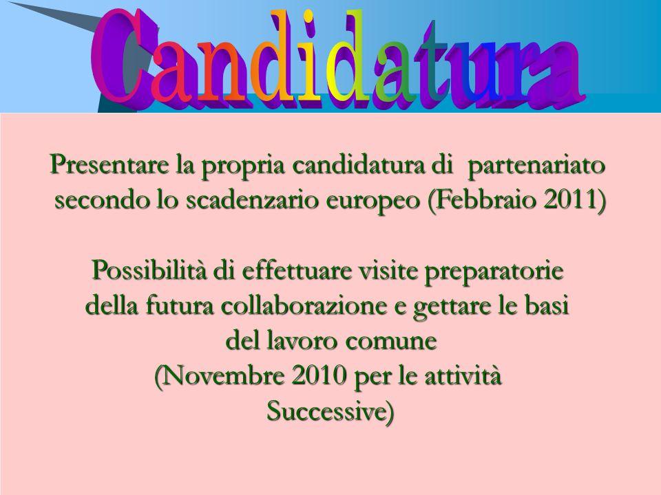 Candidatura Presentare la propria candidatura di partenariato