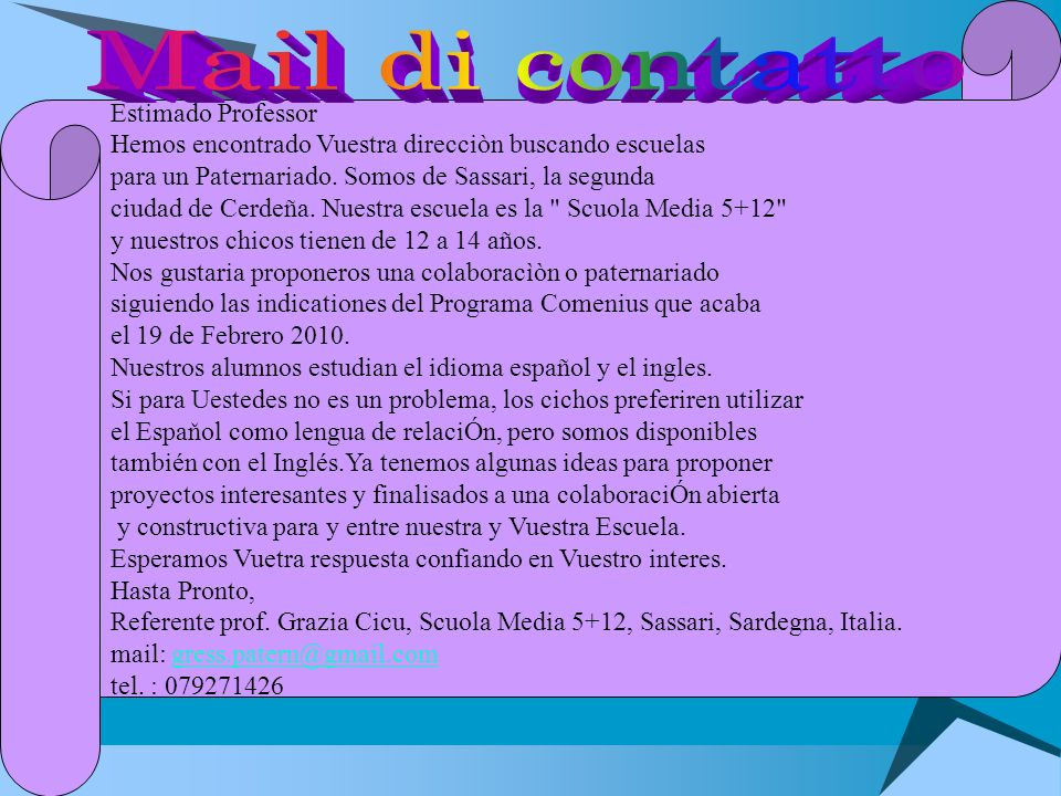 Mail di contatto Estimado Professor