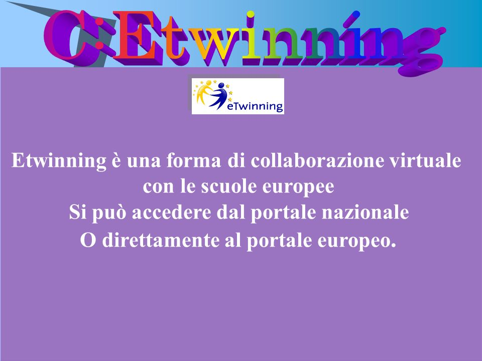 C:Etwinning Etwinning è una forma di collaborazione virtuale