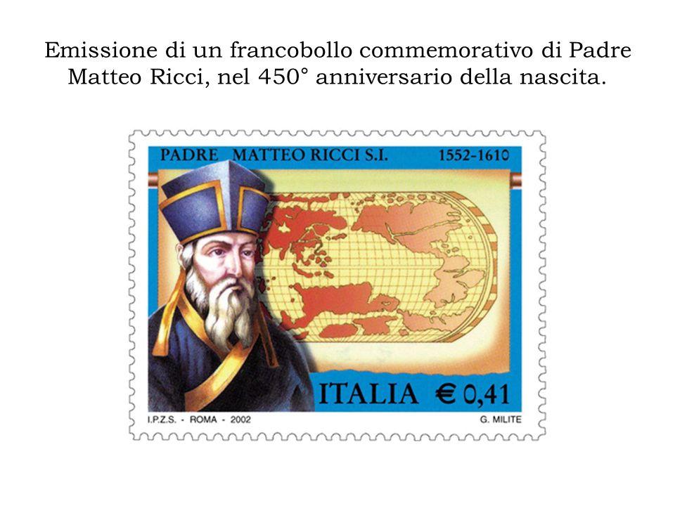 Emissione di un francobollo commemorativo di Padre Matteo Ricci, nel 450° anniversario della nascita.
