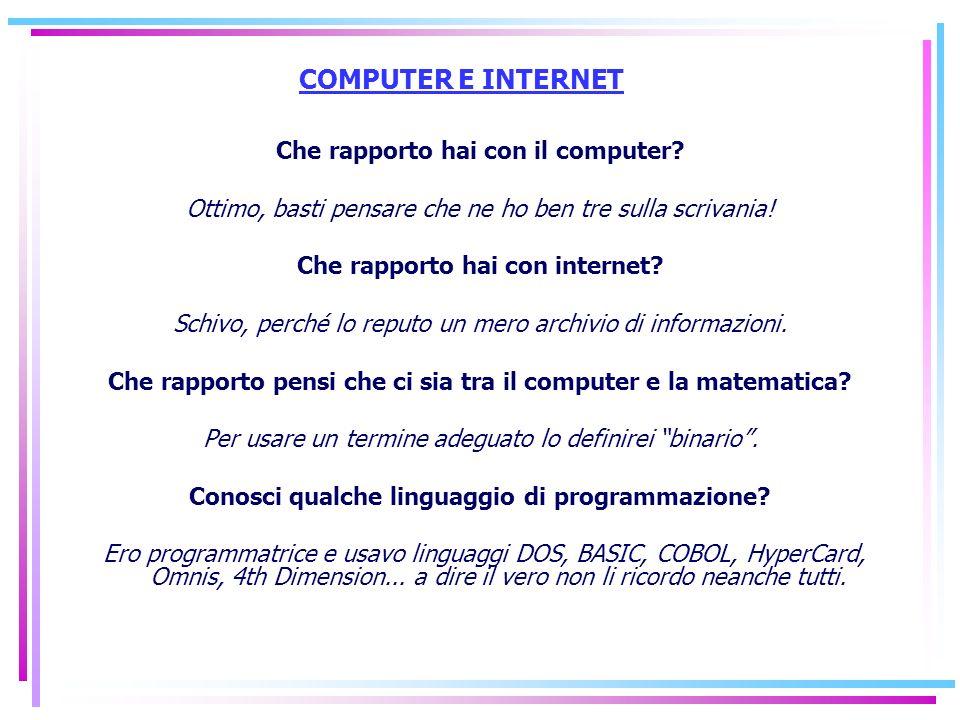 COMPUTER E INTERNET Che rapporto hai con il computer