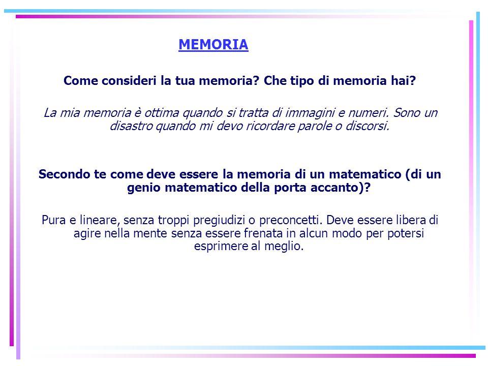Come consideri la tua memoria Che tipo di memoria hai