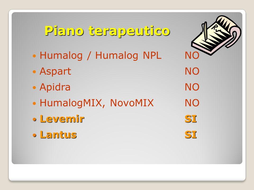 Piano terapeutico Humalog / Humalog NPL NO Aspart NO Apidra NO