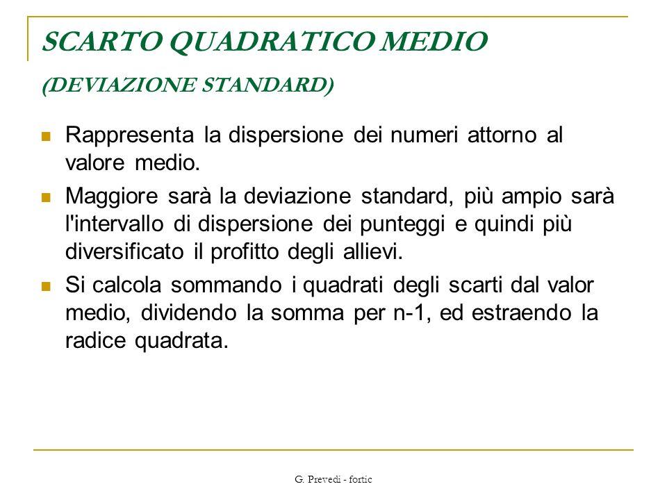 SCARTO QUADRATICO MEDIO (DEVIAZIONE STANDARD)