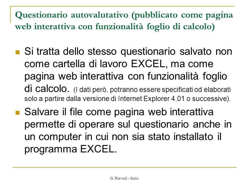 Questionario autovalutativo (pubblicato come pagina web interattiva con funzionalità foglio di calcolo)