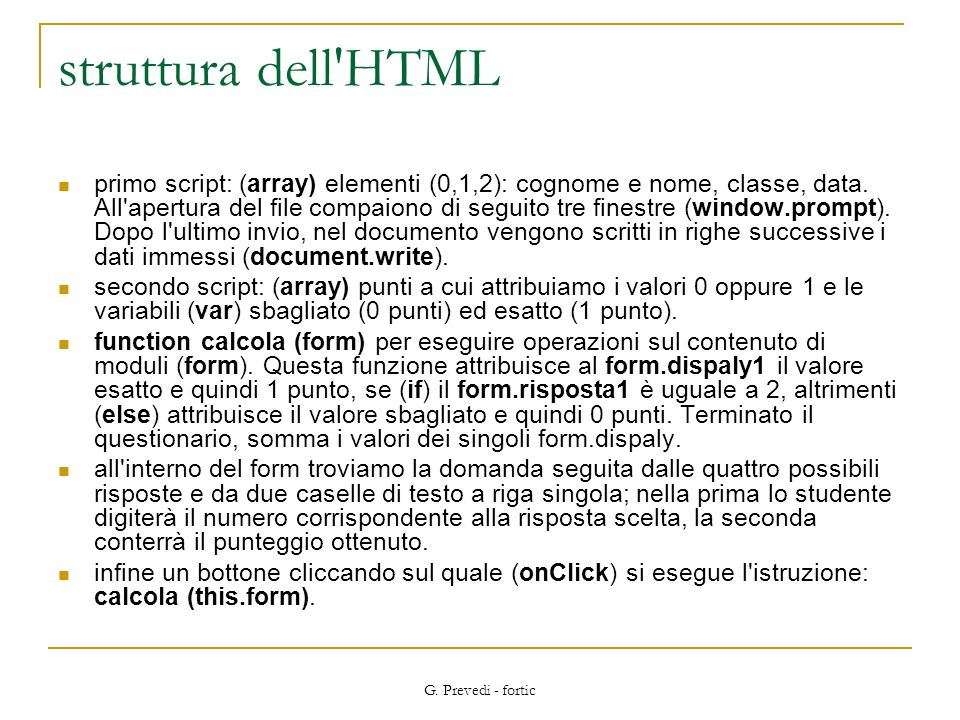 struttura dell HTML