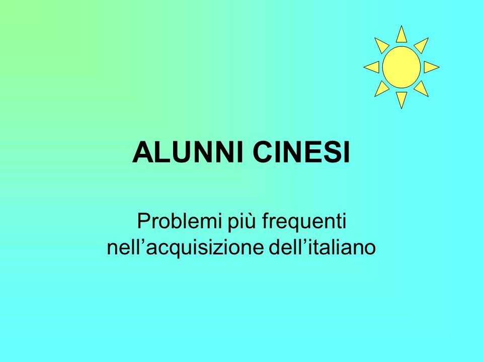 Problemi più frequenti nell'acquisizione dell'italiano