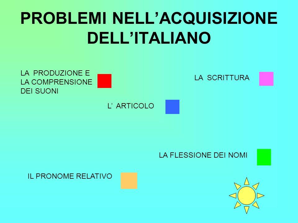 PROBLEMI NELL'ACQUISIZIONE DELL'ITALIANO