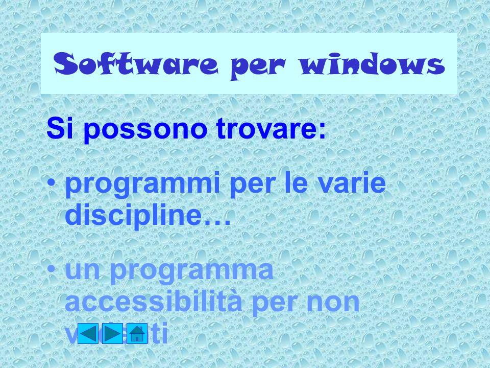 Software per windows Si possono trovare: programmi per le varie discipline… un programma accessibilità per non vedenti.