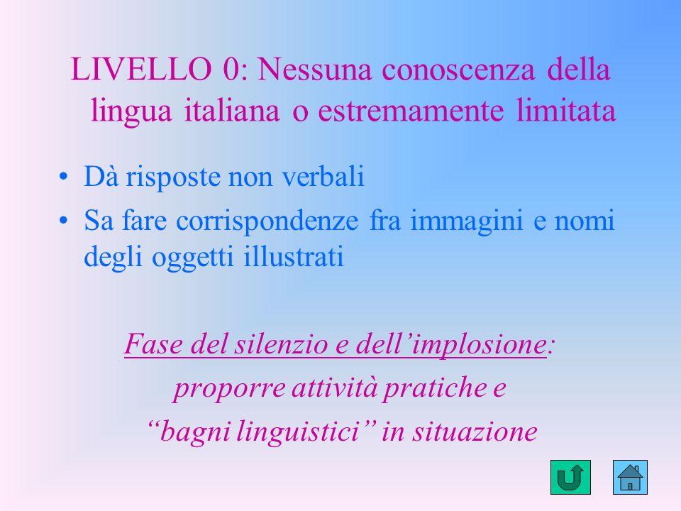 LIVELLO 0: Nessuna conoscenza della lingua italiana o estremamente limitata
