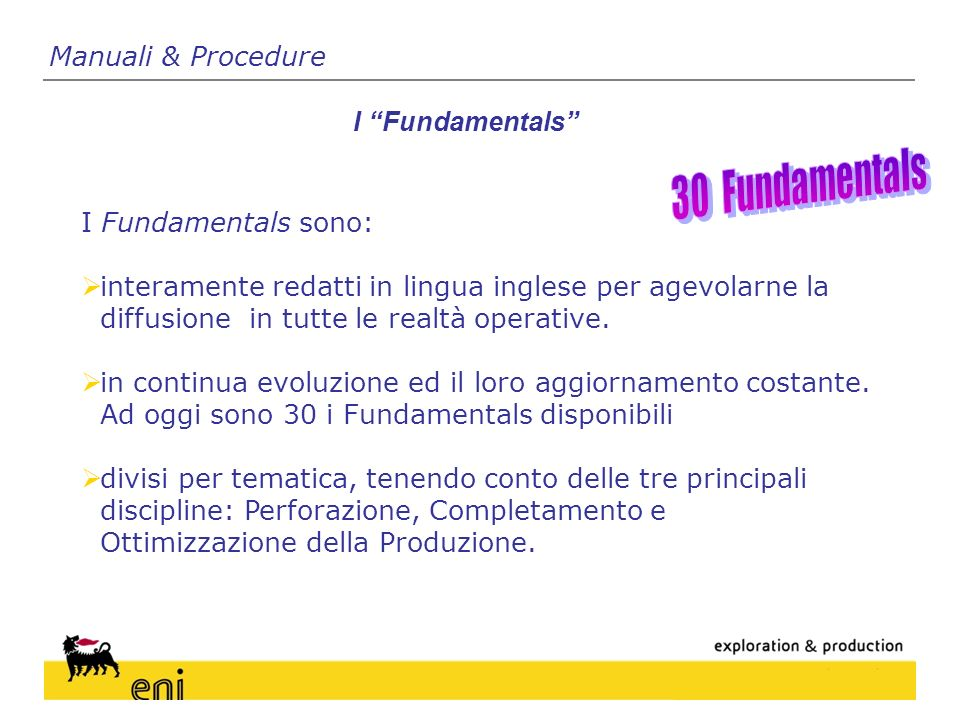 30 Fundamentals Manuali & Procedure I Fundamentals