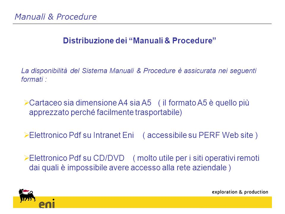 Distribuzione dei Manuali & Procedure