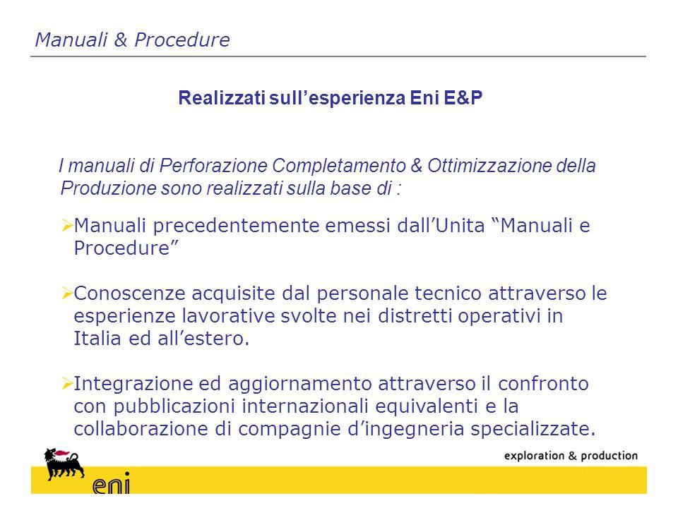 Realizzati sull'esperienza Eni E&P