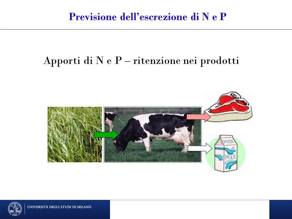Previsione dell'escrezione di N e P