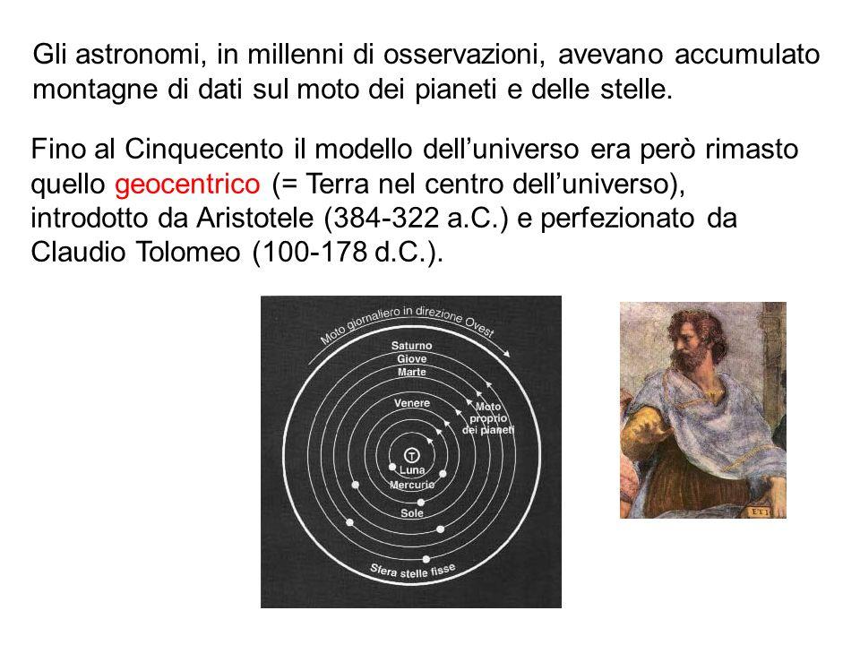Gli astronomi, in millenni di osservazioni, avevano accumulato