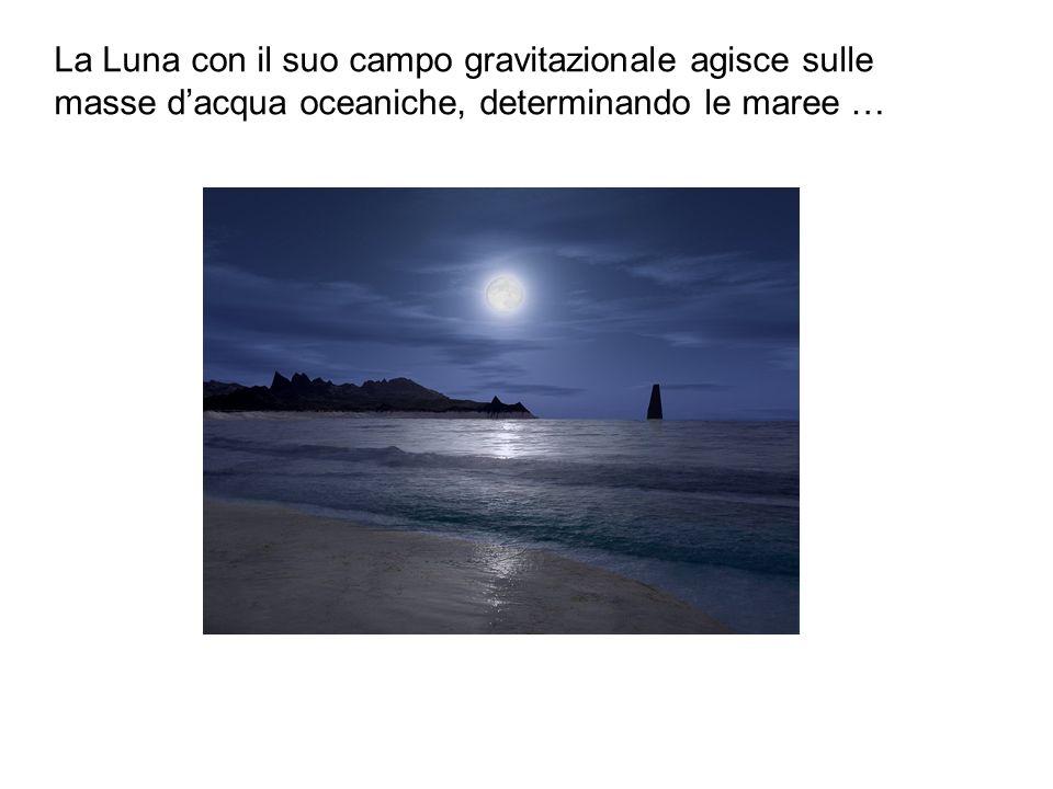 La Luna con il suo campo gravitazionale agisce sulle