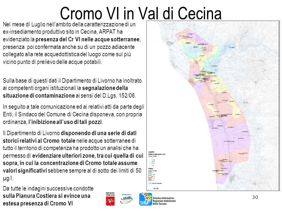 Cromo VI in Val di Cecina