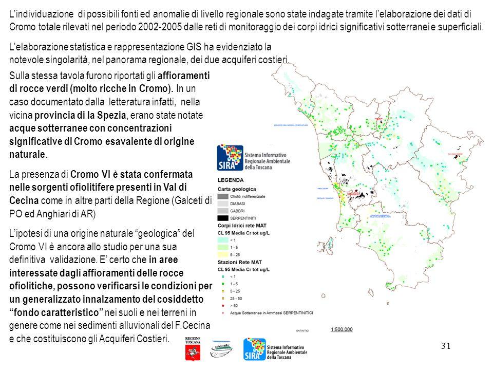 L'individuazione di possibili fonti ed anomalie di livello regionale sono state indagate tramite l'elaborazione dei dati di Cromo totale rilevati nel periodo 2002-2005 dalle reti di monitoraggio dei corpi idrici significativi sotterranei e superficiali.