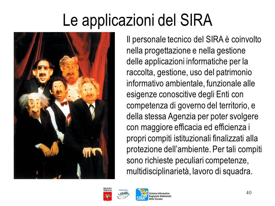 Le applicazioni del SIRA