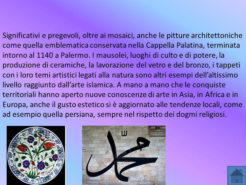 Significativi e pregevoli, oltre ai mosaici, anche le pitture architettoniche come quella emblematica conservata nella Cappella Palatina, terminata intorno al 1140 a Palermo.