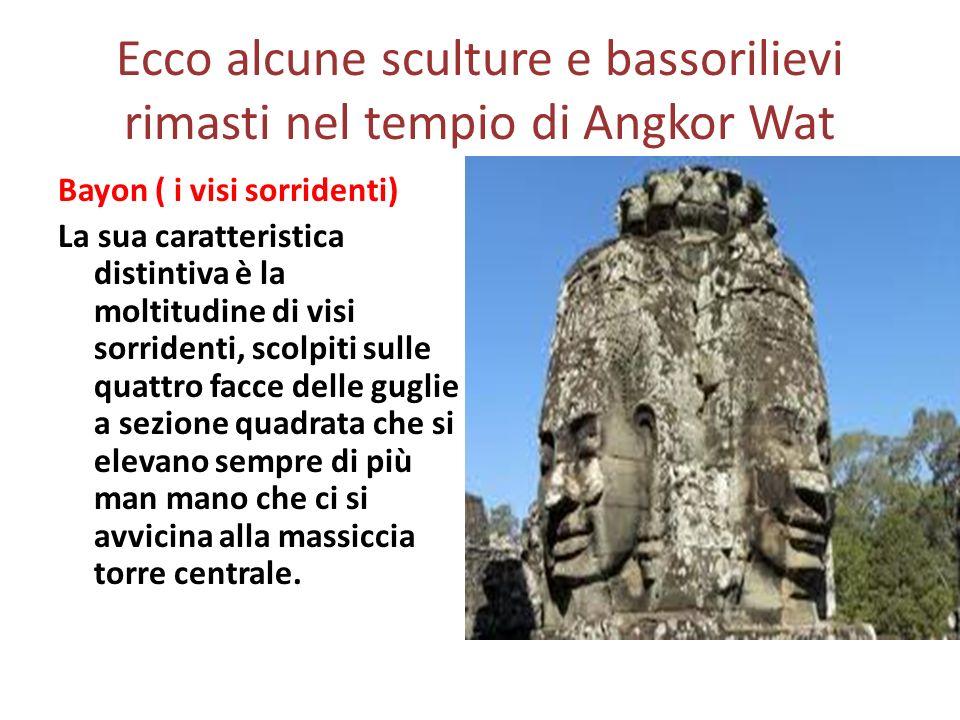 Ecco alcune sculture e bassorilievi rimasti nel tempio di Angkor Wat