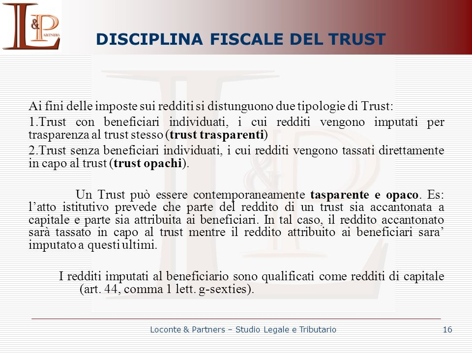 DISCIPLINA FISCALE DEL TRUST
