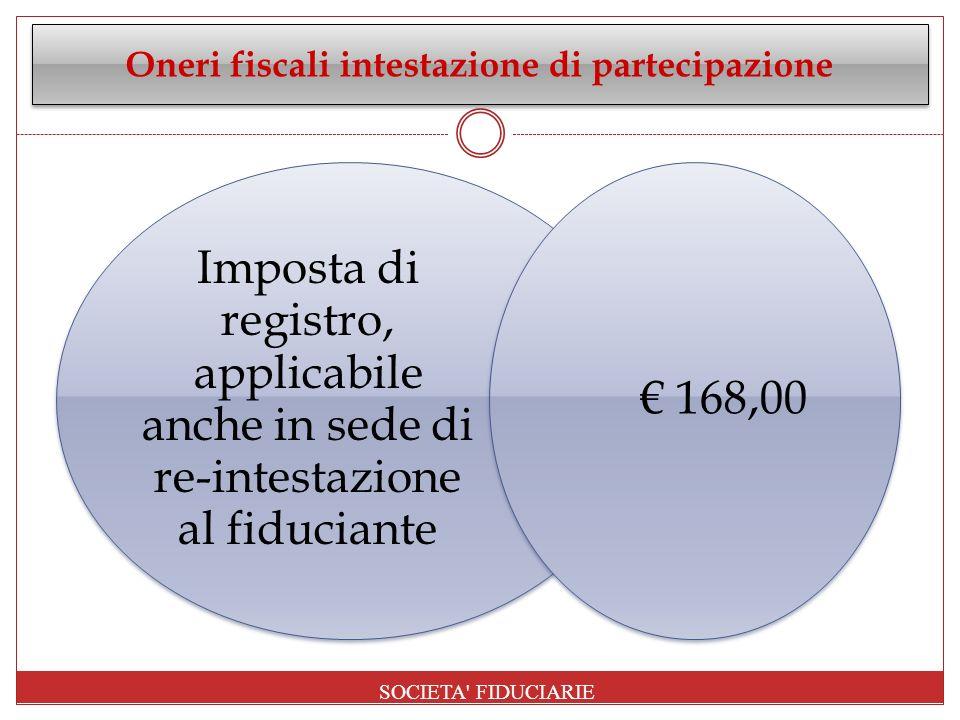 Oneri fiscali intestazione di partecipazione
