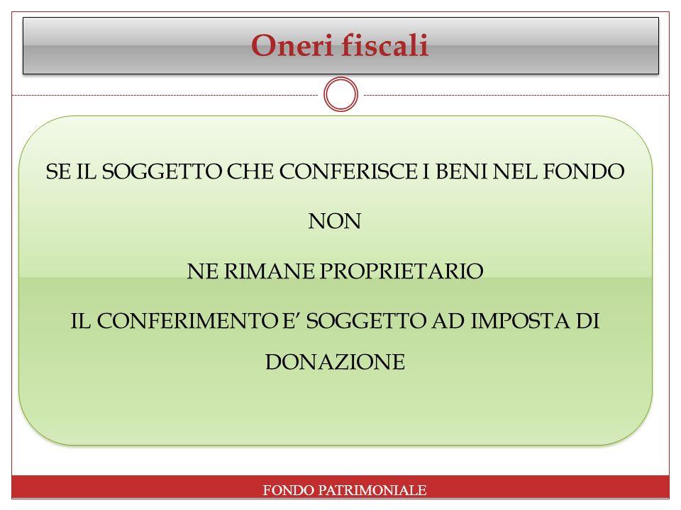 Oneri fiscali FONDO PATRIMONIALE