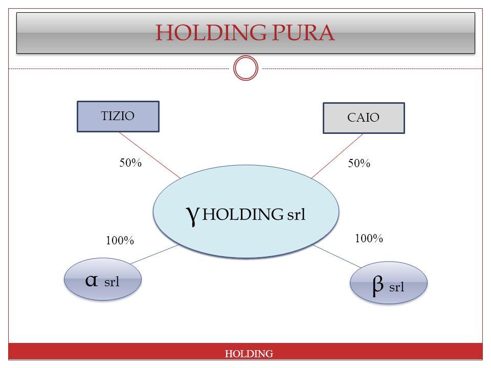 γ HOLDING srl HOLDING PURA α srl β srl TIZIO CAIO 50% 50% 100% 100%