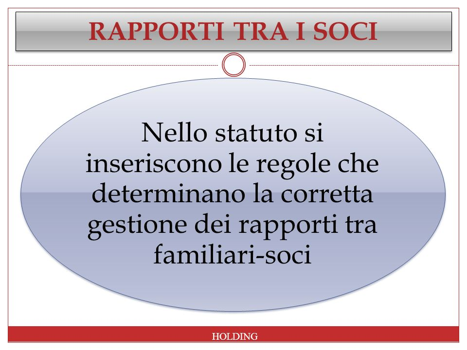 RAPPORTI TRA I SOCI HOLDING