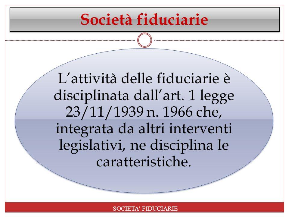 Società fiduciarie SOCIETA FIDUCIARIE