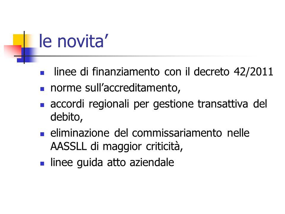 le novita' linee di finanziamento con il decreto 42/2011