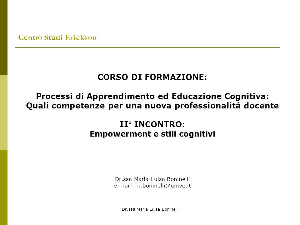 Centro Studi Erickson CORSO DI FORMAZIONE: