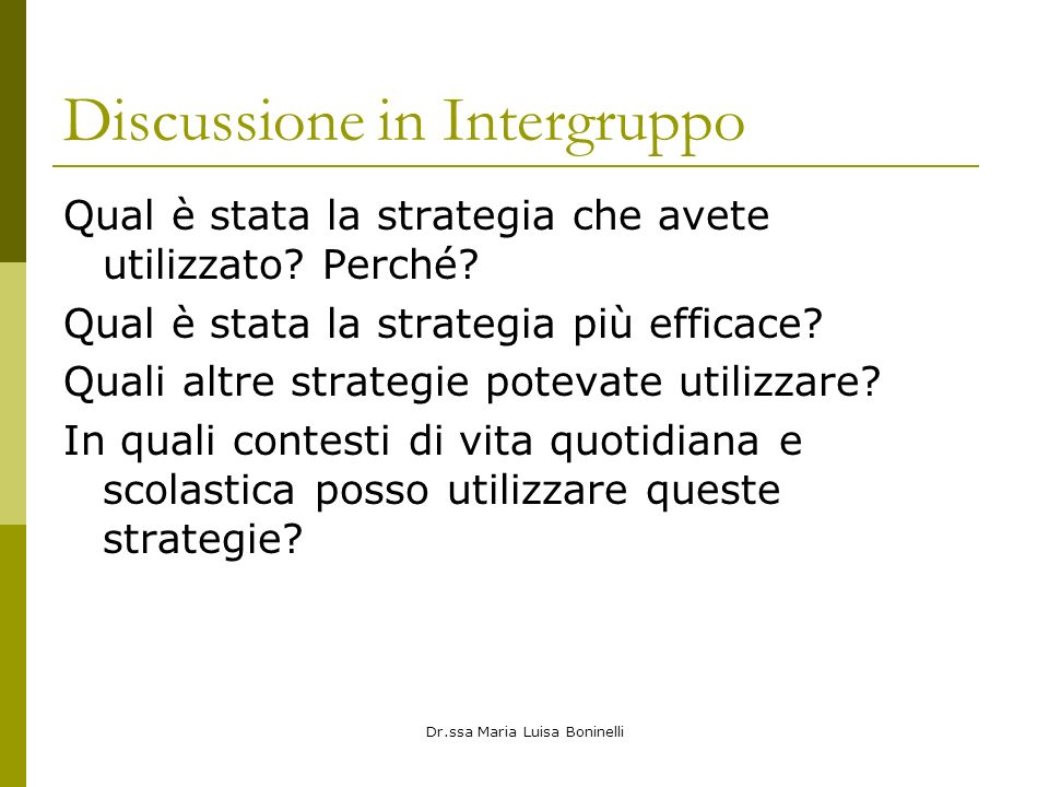 Discussione in Intergruppo