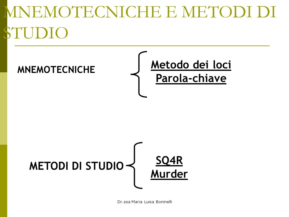 MNEMOTECNICHE E METODI DI STUDIO