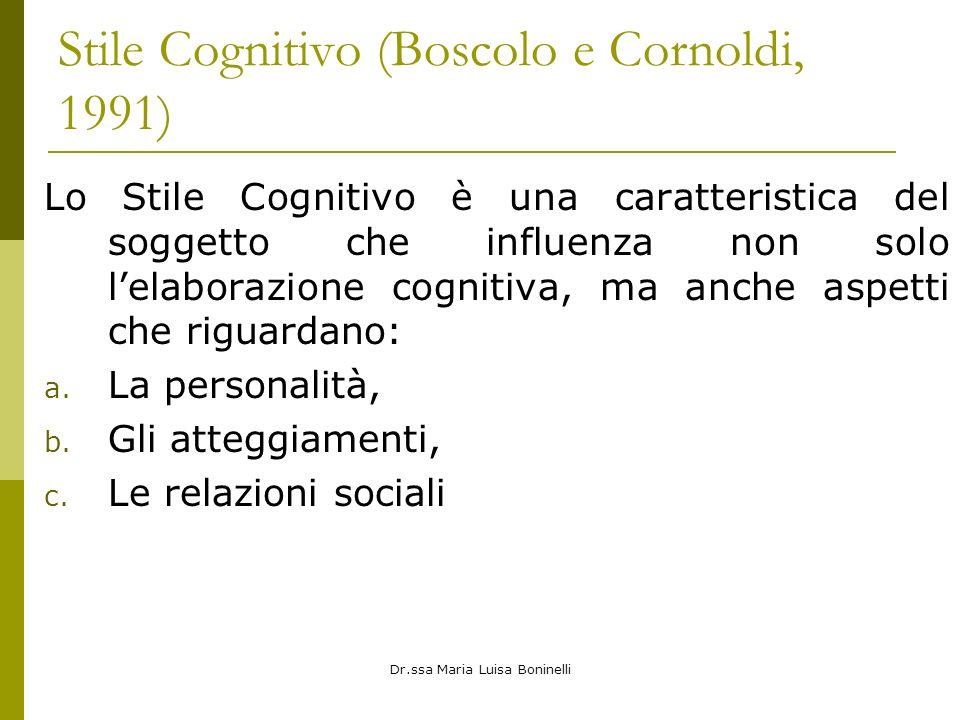 Stile Cognitivo (Boscolo e Cornoldi, 1991)