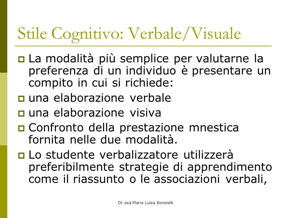 Stile Cognitivo: Verbale/Visuale