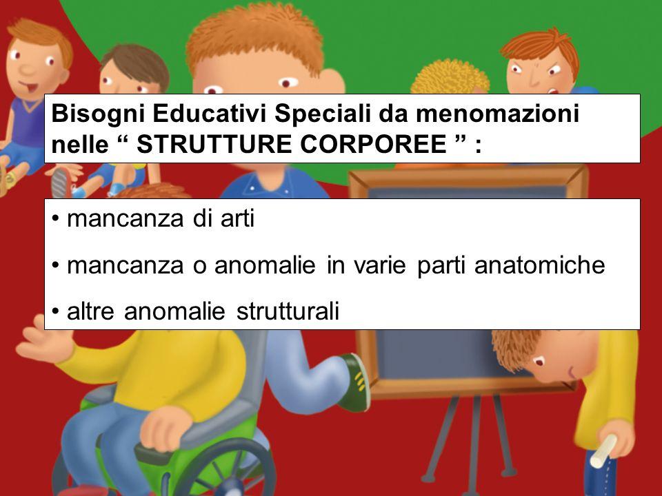 Bisogni Educativi Speciali da menomazioni nelle STRUTTURE CORPOREE :