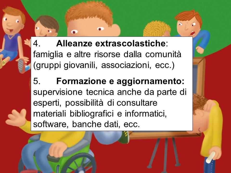 4. Alleanze extrascolastiche: famiglia e altre risorse dalla comunità (gruppi giovanili, associazioni, ecc.)