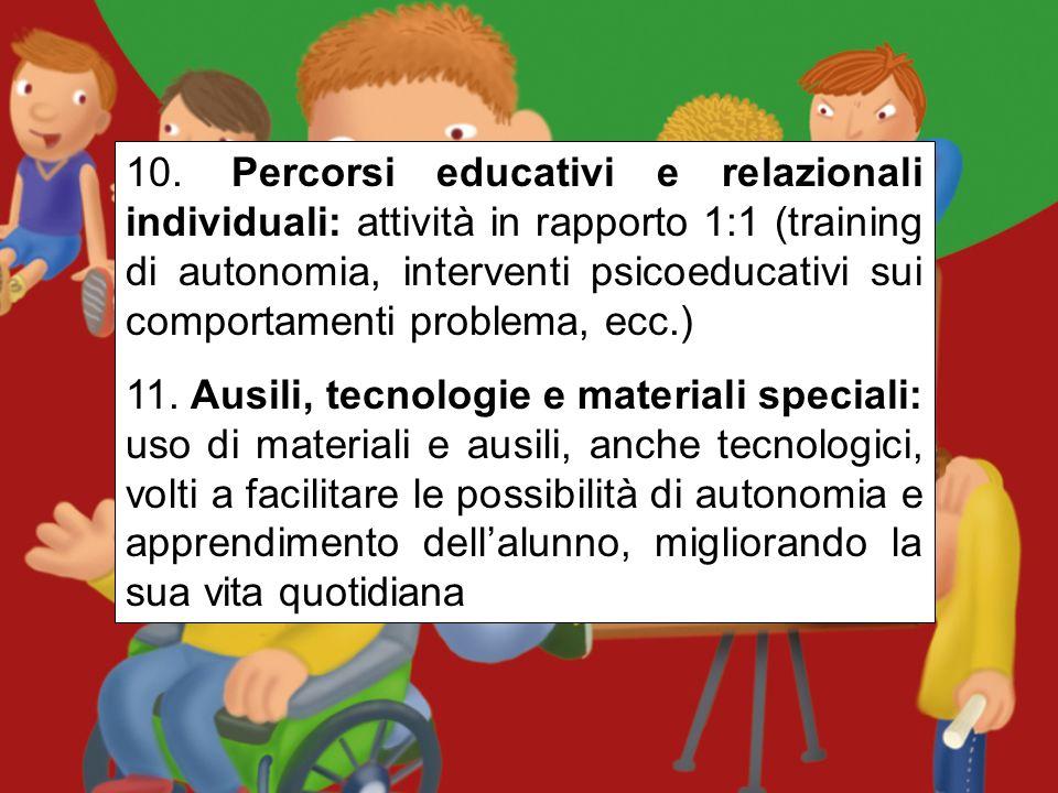 10. Percorsi educativi e relazionali individuali: attività in rapporto 1:1 (training di autonomia, interventi psicoeducativi sui comportamenti problema, ecc.)