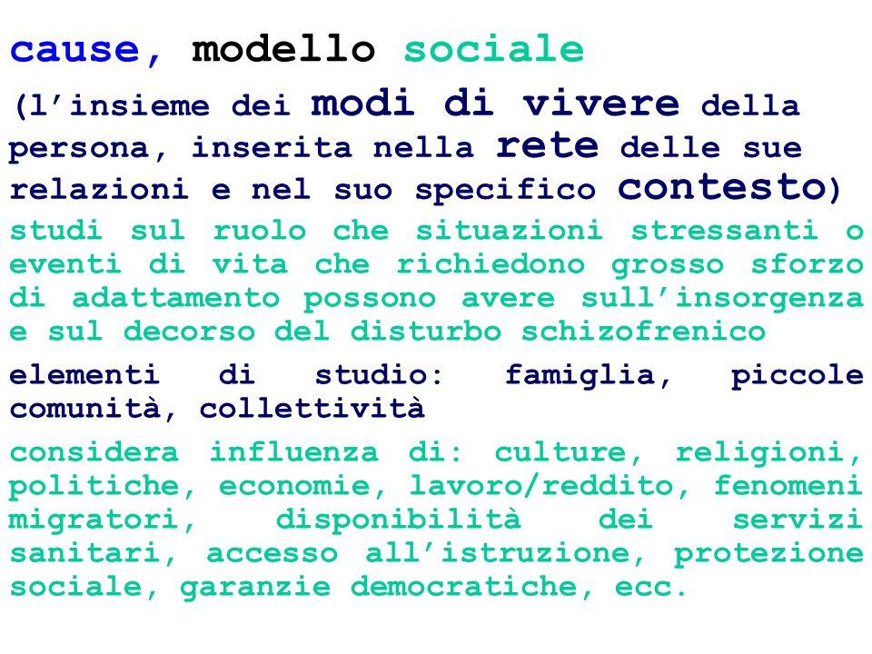 cause, modello sociale(l'insieme dei modi di vivere della persona, inserita nella rete delle sue relazioni e nel suo specifico contesto)
