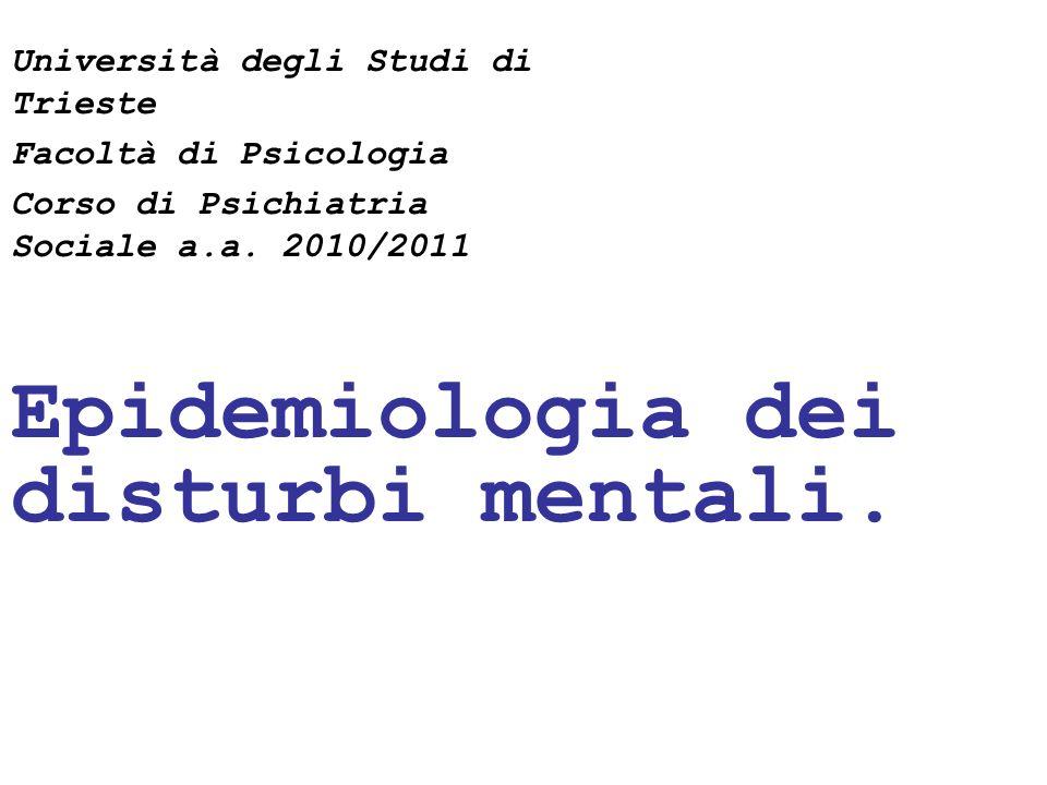Epidemiologia dei disturbi mentali.