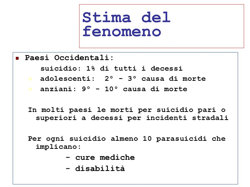 Stima del fenomeno Paesi Occidentali: - cure mediche - disabilità