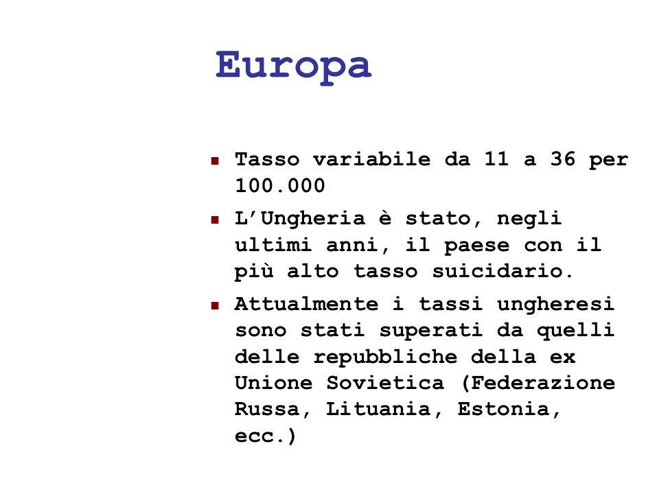Europa Tasso variabile da 11 a 36 per 100.000