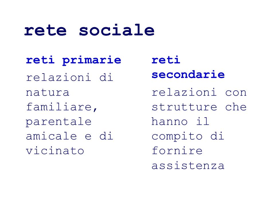 rete sociale reti primarie