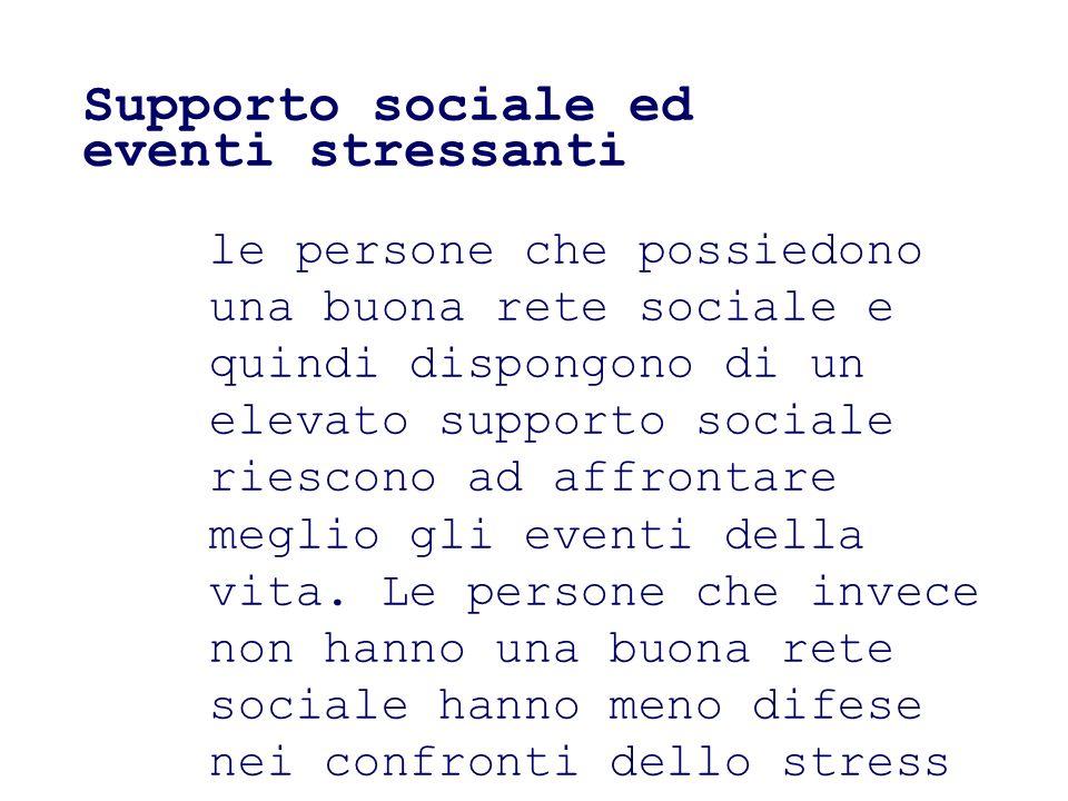 Supporto sociale ed eventi stressanti