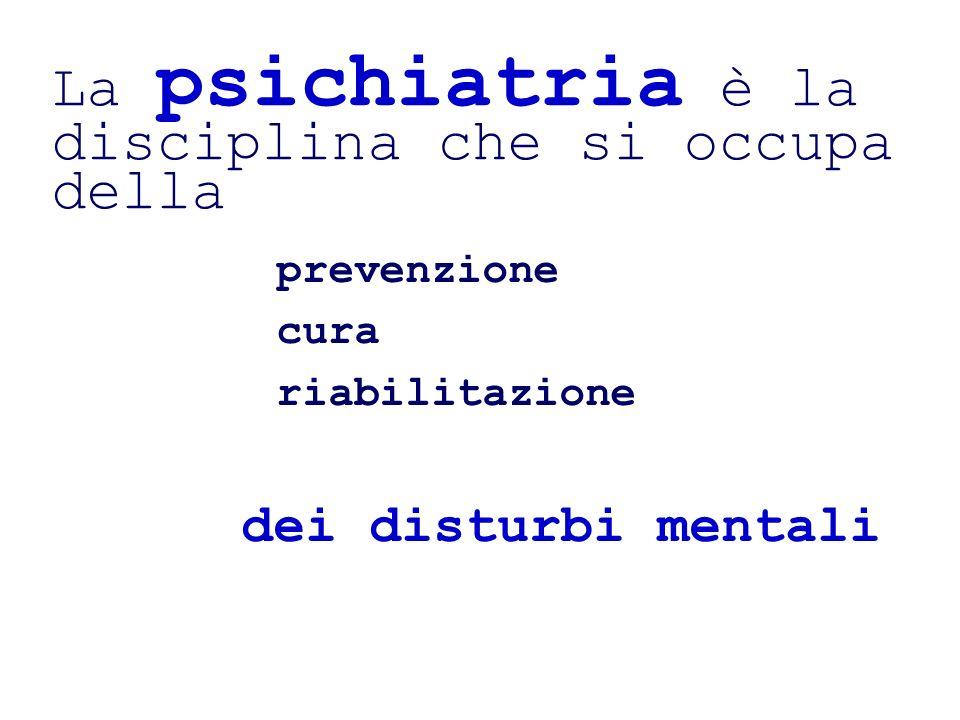 La psichiatria è la disciplina che si occupa della