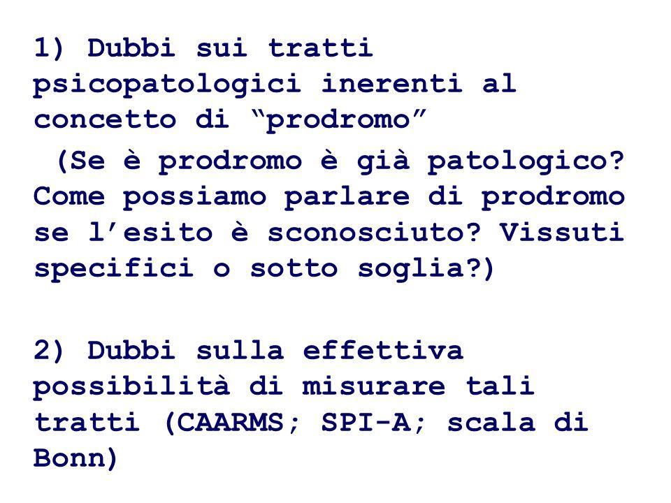 1) Dubbi sui tratti psicopatologici inerenti al concetto di prodromo